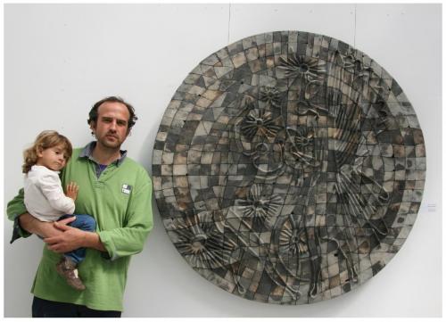"""Чиния"" 2015, каменина, редукция, опушване, 120х120 см"