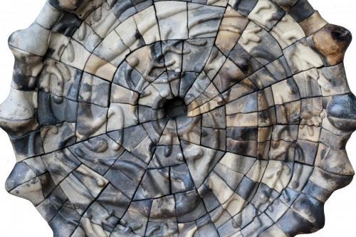 """""""Чиния"""", 2013, каменина, редукция 0, опушване, 36х36х7 см"""