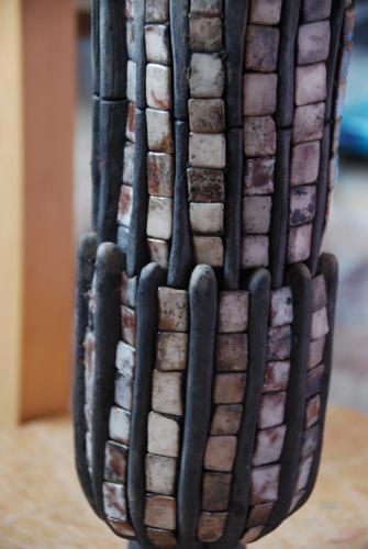 """Ваза"" 2014, каменина, редукция, опушване, глазура, 27х11х11 см"