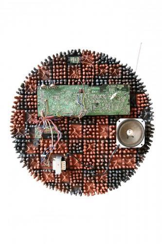 """Чиния"", 2014, 55х55 см, червена глина, редукция, опушване, платки"