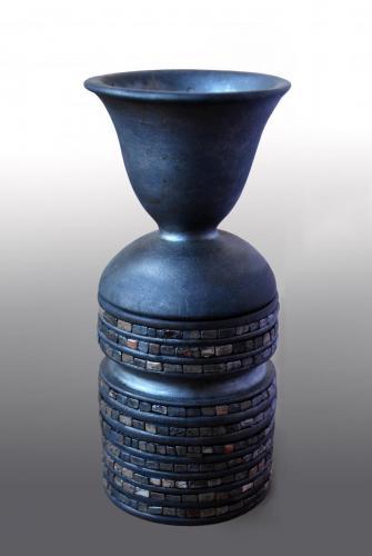 """""""Ваза"""" 2014, червена глина, опушване, глазура, 22х10х10 см"""