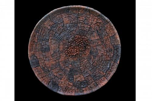 """Чиния"", 2020, 85х85 см, червена глина, редукция, опушване"