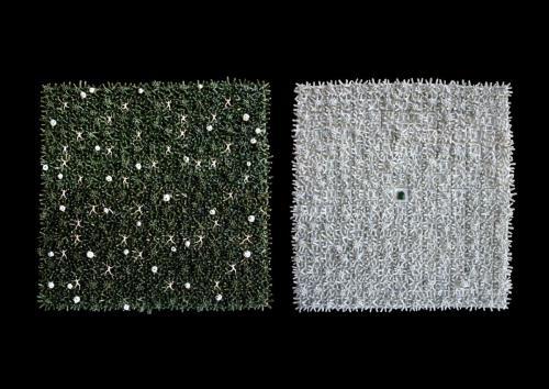 """""""Квадратни съдове: зелено"""", 2013, каменина, порцелан, глазура, 86х200 см"""