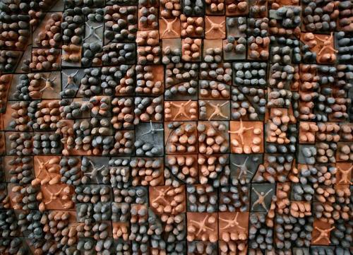"""""""Затъмнение"""", 2018, 160х160 см, червена глина, редукция, опушване"""
