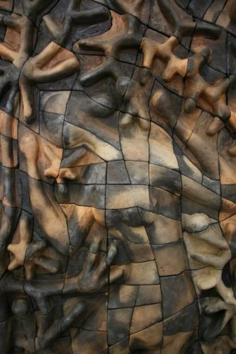 """Борба в Едем"", 80х80 см, червена глина, редукция, опушване"