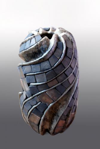 """Ваза"", 2013, каменина, редукция, опушване, 15х9х9 см"